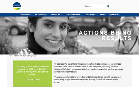 Screenshot of About Page biomerieux.com - Actions bring results - ANTIMICROBIAL RESISTANCE - captured Dec. 12, 2019