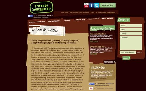 Screenshot of Terms Page thirstyswagman.com - Terms & Conditions: Thirsty Swagman - captured Oct. 9, 2014