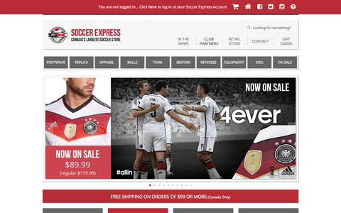 Screenshot of Home Page canadas-largest-soccer-store.com - Soccer Express | Canada's Largest Soccer Store | Soccer Express | Canada's Largest Soccer Store - captured Jan. 28, 2015