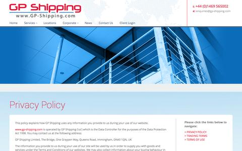 Screenshot of Privacy Page gp-shipping.com - GP Shipping Privacy Policy - captured Sept. 27, 2014