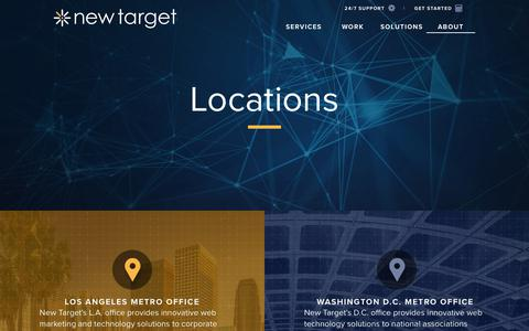 Screenshot of Locations Page newtarget.com - new target inc locations | washington dc, los angeles - captured Sept. 20, 2018