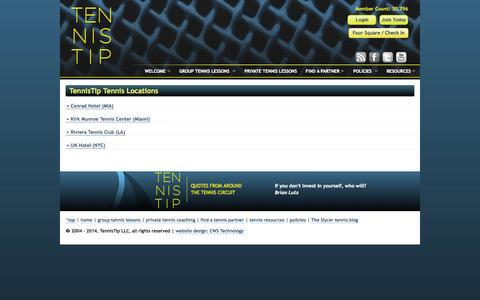 Screenshot of Locations Page tennistip.com - TennisTip Tennis Locations: your source for how to play tennis tips, private and group tennis lessons, and finding tennis partners - captured Oct. 7, 2014