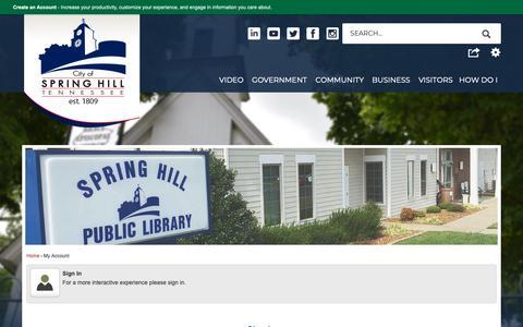 Screenshot of Login Page springhilltn.org - Spring Hill, TN - Official Website - captured Sept. 28, 2018