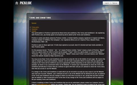 Screenshot of Terms Page picklive.com - Picklive - Terms and conditions - captured Sept. 11, 2014