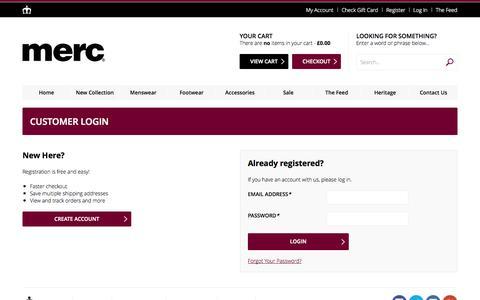 Screenshot of Login Page merc.com - Customer Login - captured Oct. 29, 2014