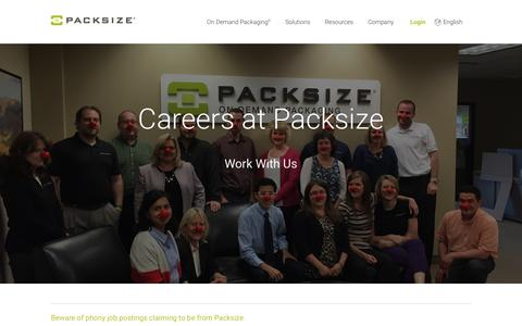 Screenshot of Jobs Page packsize.com - Careers - Packsize� - captured Dec. 5, 2015