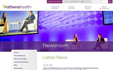 Screenshot of Press Page athenahealth.com - Press Releases | athenahealth | Newsroom - captured Oct. 1, 2015