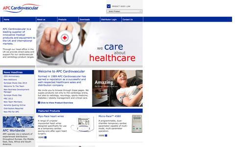 Screenshot of Home Page apccardiovascular.co.uk - APC Cardiovascular Ltd - Welcome - captured Oct. 4, 2014