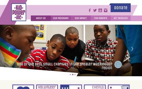 Screenshot of Home Page kidpowerdc.org captured Feb. 12, 2016
