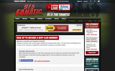 Screenshot of Signup Page 975thefanatic.com - 97.5 The Fanatic | Join the MVP Club - captured Oct. 27, 2014