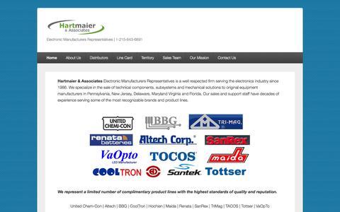 Screenshot of Home Page hartmaier.com - Hartmaier & Associates Electronic Manufacturers Representatives - captured Oct. 2, 2014