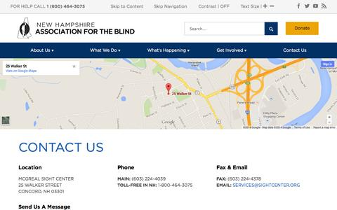 Screenshot of Contact Page sightcenter.org - Contact the New Hampshire Association for the Blind - captured Oct. 26, 2014