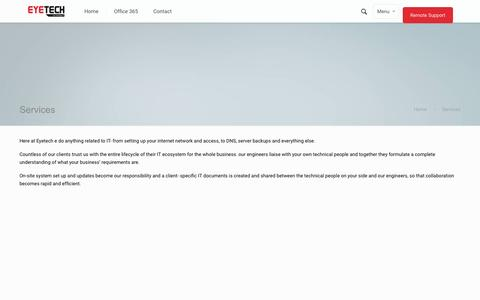Screenshot of Services Page eyetechltd.com - Services   Eyetech LtdEyetech Ltd - captured Sept. 27, 2015