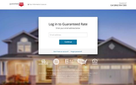 Screenshot of Login Page guaranteedrate.com - Log in to Guaranteed Rate - captured Oct. 1, 2015
