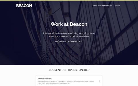 Screenshot of Jobs Page beaconreader.com - Jobs — Work at Beacon - captured Feb. 29, 2016
