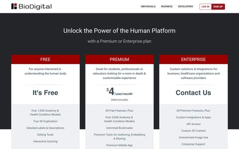 Screenshot of Pricing Page biodigital.com - BioDigital: 3D Human Visualization Platform for Anatomy and Disease - captured Feb. 26, 2016