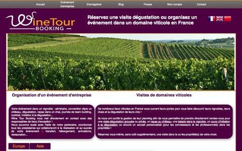 Screenshot of Home Page winetourbooking.com - Wine Tour Booking - Réserver une visite dégustation dans le vignoble de Bordeaux | Les châteaux du vignoble de Bordeaux vous attendent pour vous faire découvrir leurs vins ... - captured Feb. 6, 2015
