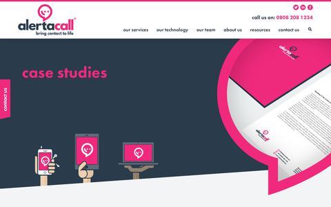 Screenshot of Case Studies Page alertacall.com - Alertacall Resources - captured Oct. 3, 2018