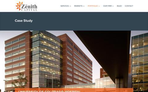 Screenshot of Case Studies Page zenith.capital - University of Colorado Hospital | Zenith Capital - captured Oct. 19, 2017