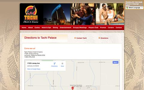 Screenshot of Maps & Directions Page tachipalace.com - Directions to Tachi Palace Hotel & Casino : Lemoore, CA - captured Oct. 9, 2014