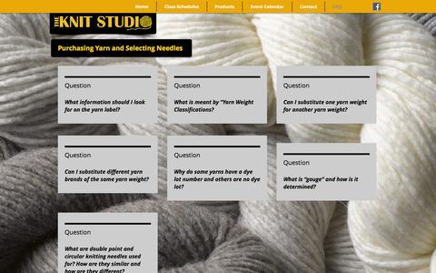Screenshot of FAQ Page theknitstudio.com - knitstudiollc | FAQ - captured Nov. 27, 2016