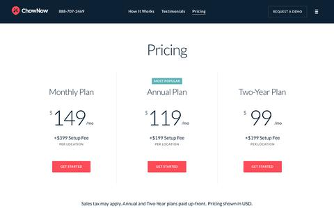 Screenshot of Pricing Page chownow.com - ChowNow | Online Ordering System Pricing & Information - captured Oct. 14, 2018