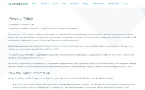 Screenshot of Privacy Page company.com - Social Network & Resource Hub for Small Business | Company.com - captured July 26, 2019