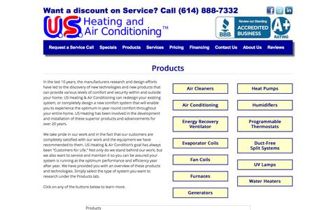 Screenshot of Products Page usheating.com - Products | US Heating and Air Conditioning - captured Nov. 19, 2016