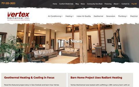 Screenshot of Press Page vertex-mechanical.com - In the News | Vertex Mechanical Inc | Stevens PA - captured Sept. 21, 2018
