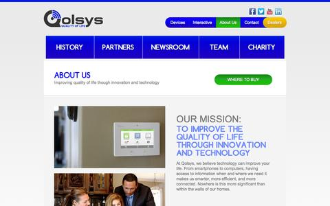 Screenshot of About Page qolsys.com - Qolsys - Home Security / Energy Management / Remote Control - captured Sept. 22, 2014
