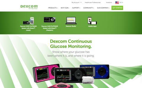 Screenshot of Products Page dexcom.com - Dexcom - Continuous Glucose Monitoring Devices & Systems | Dexcom - captured June 16, 2015