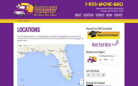 Screenshot of Locations Page 2collegebrothers.com - Tampa and Gainesville Moving Company Locations - captured March 1, 2016