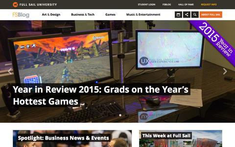 Screenshot of Home Page Blog fullsailblog.com - Full Sail University Blog - captured Jan. 6, 2016