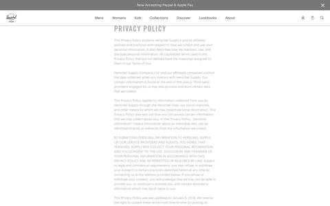 Privacy Policy | Herschel Supply Company