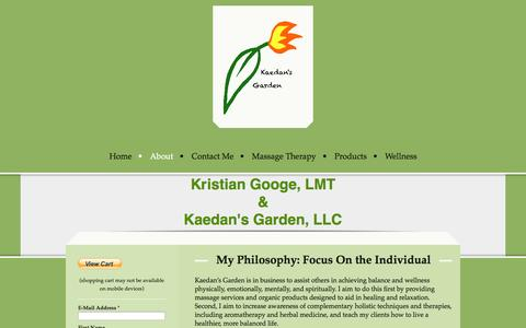 Screenshot of About Page kaedansgarden.com - About - Kaedan's Garden, LLC - captured Sept. 30, 2014