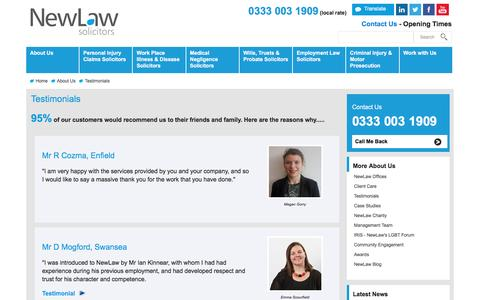 Screenshot of Testimonials Page new-law.co.uk - Testimonials | NewLaw Personal Injury solicitors 0333 003 1909 - captured Dec. 18, 2016