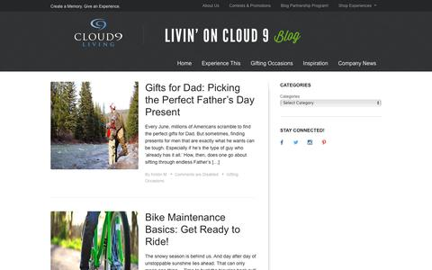 Screenshot of Blog cloud9living.com - Livin' on Cloud 9 | Create a Memory. Give an Experience. - captured May 25, 2016