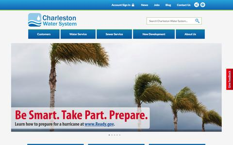 Screenshot of Home Page Terms Page charlestonwater.com - Charleston Water System, SC - Official Website | Official Website - captured Sept. 22, 2014