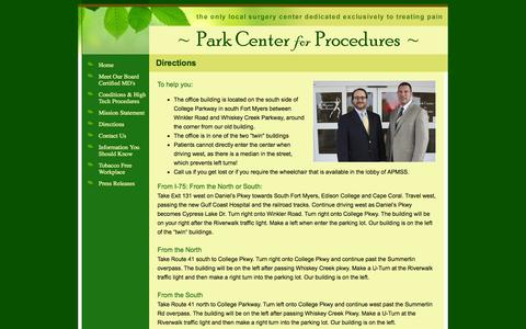 Screenshot of Maps & Directions Page pcpasc.net - Park Center for Procedures, Directions - captured Oct. 1, 2014