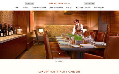 Screenshot of Jobs Page theallison.com - Luxury Hospitality Careers in Newberg Oregon | The Allison Inn and Spa - captured Sept. 22, 2018