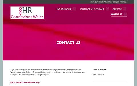 Screenshot of Contact Page hrconnexionswales.co.uk - Contact Us | - captured July 9, 2016