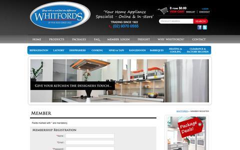 Screenshot of Signup Page whitfordshomeappliances.com.au - Member Register - Whitfords - Your Home Appliance Specialist - captured Nov. 29, 2016