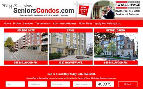 Screenshot of Home Page Menu Page seniorscondos.com - Seniors Condos - captured Oct. 21, 2016