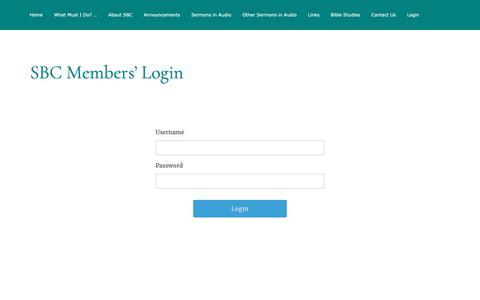 Screenshot of Login Page salembible.org - Login – Salem Bible Church - captured Oct. 31, 2018