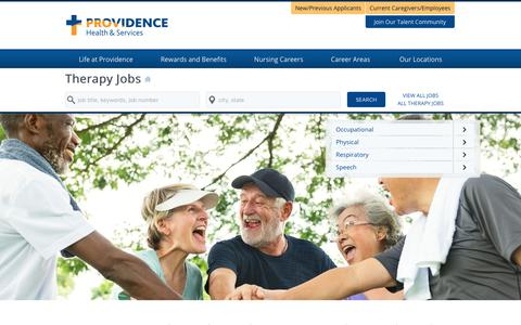 Screenshot of Home Page providence-therapy.jobs - Providence Therapy Jobs - captured Jan. 30, 2018