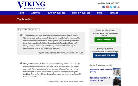 Screenshot of Testimonials Page vikingmergers.com - Testimonials - Viking Mergers & Acquisitions - captured Nov. 4, 2014