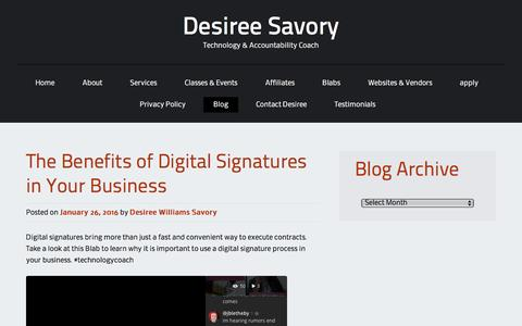 Screenshot of Blog desireesavory.com - Blog | Desiree Savory - captured Feb. 13, 2016