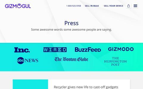 Screenshot of Press Page gizmogul.com - Press - Gizmogul.com - captured Dec. 18, 2017