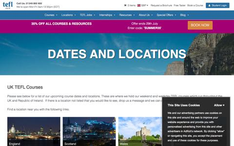 Screenshot of Locations Page tefl.org.uk - Dates and Locations - TEFL Org UK - captured July 25, 2018