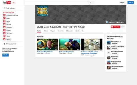 Screenshot of YouTube Page youtube.com - Living Color Aquariums - The Fish Tank Kings!  - YouTube - captured Oct. 23, 2014